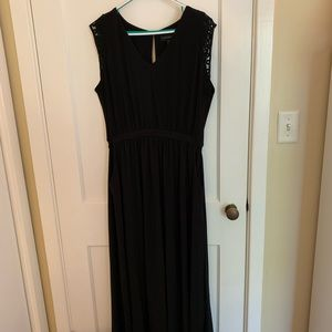 Lane Bryant black maxi dress with macrame accents